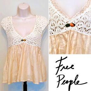 Free People Sheer Blouse, Crochet & Floral Detail